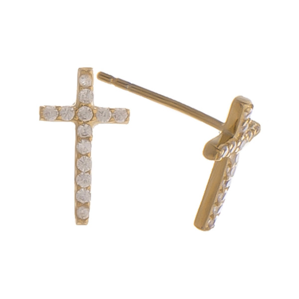 """Gorgeous gold dipped cross stud earring. Approximate .5"""" in length."""
