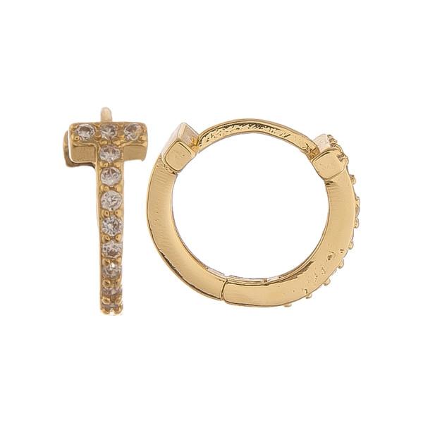 Wholesale gold dipped hoop cross earrings rhinestones Approximate mm