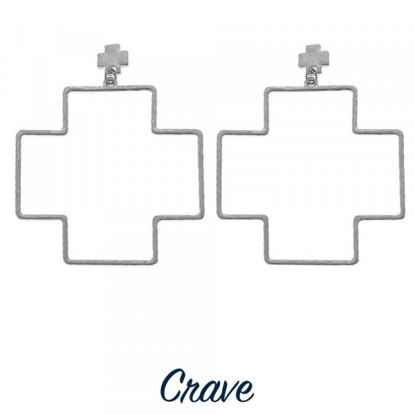 Wholesale long metal crave thick cross earrings Approximate