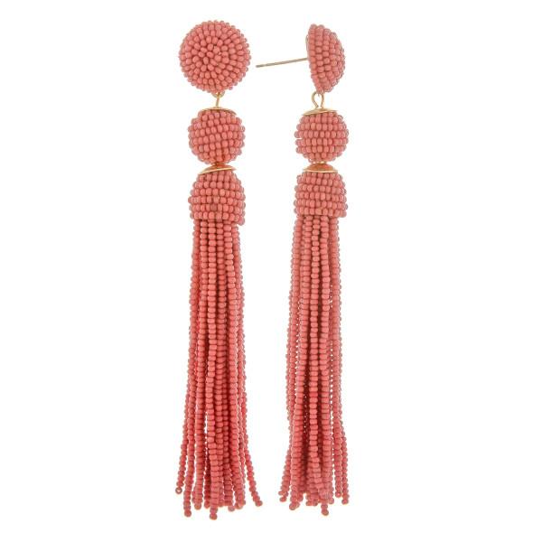 "Long beaded tassel earrings. Approximate 3.5"" in length."