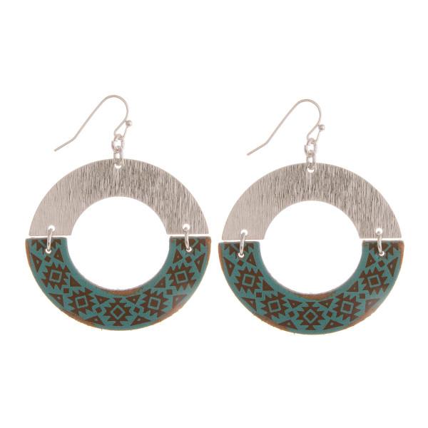 "Long hoop metal and cork earring. Approximate 2"" in length."
