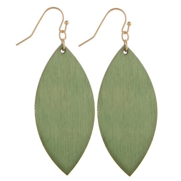 "Fishhook leaf shape wood earring. Approximate 2.5"" in length."
