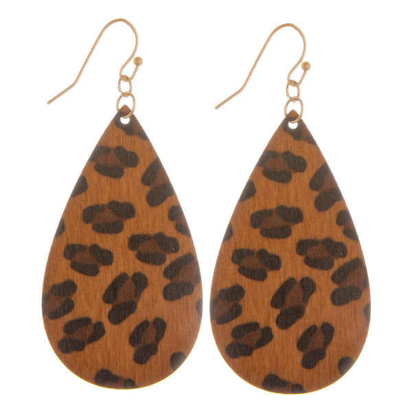 """Long wooden earring with animal print. Approximate 2.5"""" in length."""