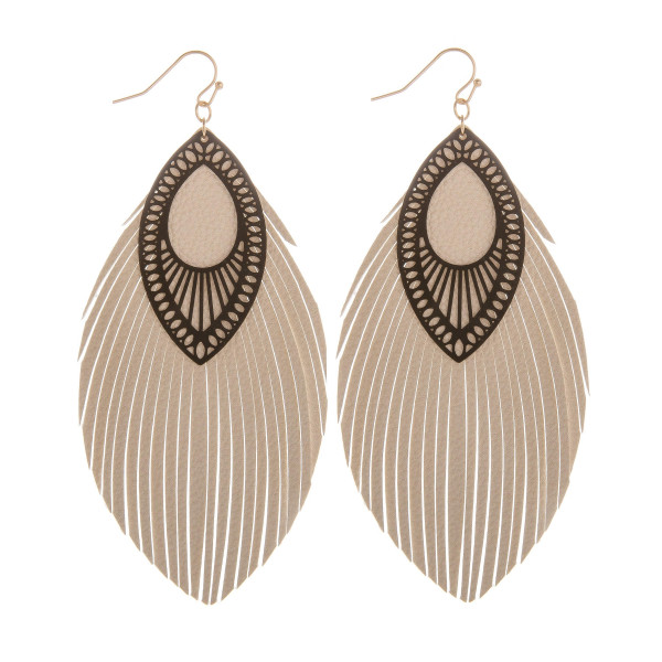 """Long double leather leaf earring with filigree detail. Approximate 4"""" in length."""