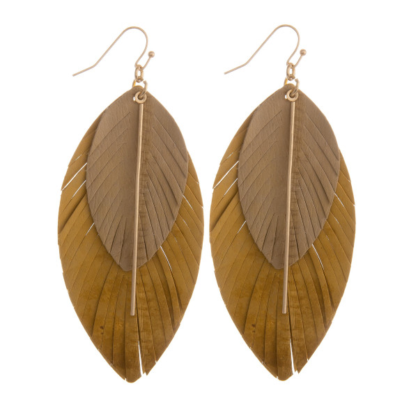 """Gorgeous genuine leather double drop  earring with gold pole detail. Approximate. 3.5"""" in length."""