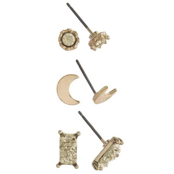 Gorgeous three pair natural stone stud earrings with moon. Approximate 4mm in diameter.