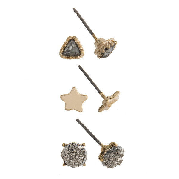 Gorgeous three pair natural stone stud earrings with stars. Approximate 4mm in diameter.