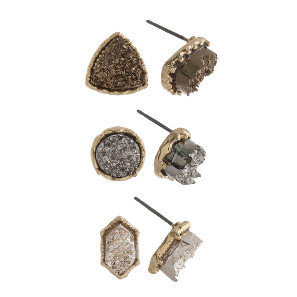 Gorgeous three pair natural stone stud earrings. Approximate 4mm in diameter.