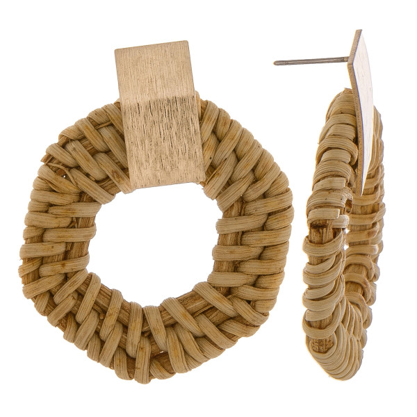 "Gorgeous short woven raffia earring with gold post. Approximately 1"" in diameter."