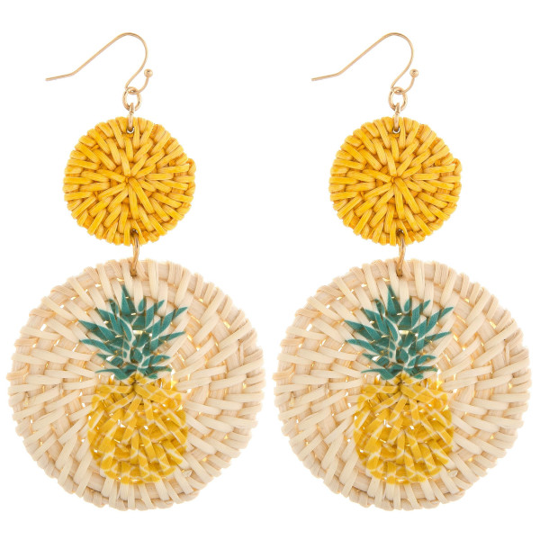 """Gorgeous solid wood hoop earring with pineappe  print. Approximate. 3"""" in length."""