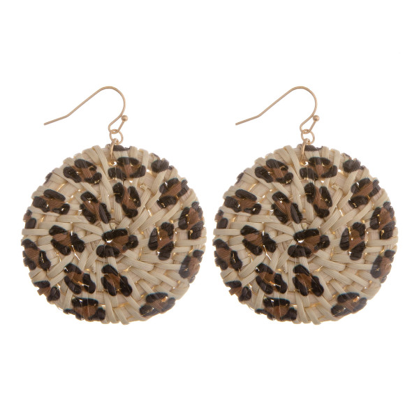 "Long fish-hook leather animal print earrings. Approximate 2"" in diameter."