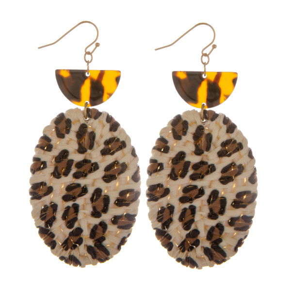 """Long animal print earring with tortoise post details. Approximate 3"""" in length."""