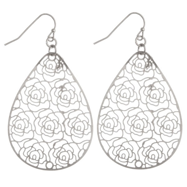 """Long fishhook metal drop earring with rose cut out details. Approximate 2"""" in length."""