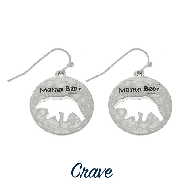 """Round Mama Bear cutout earrings. Approximately 3/4"""" tall."""