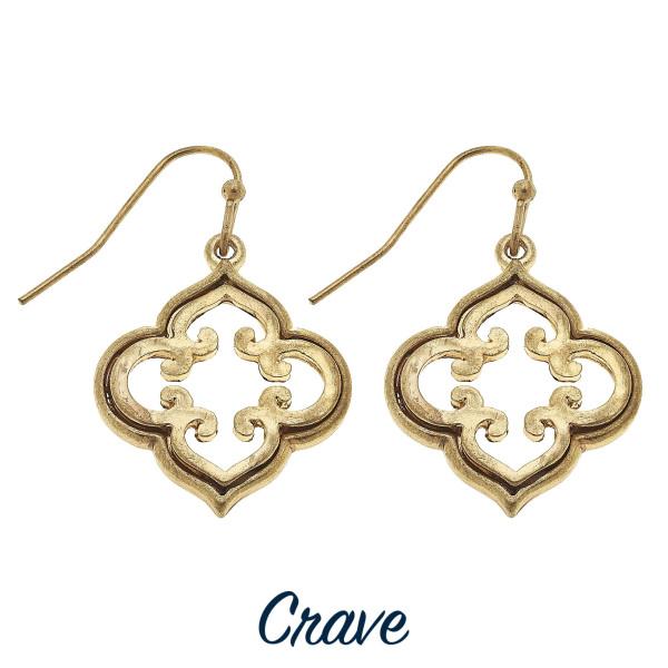 Dainty quatrefoil drop earrings. Approximately 3/4 tall.
