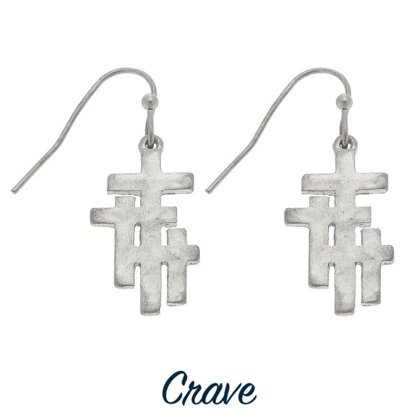 """Dainty triple cross drop earrings. Approximately 3/4"""" tall."""