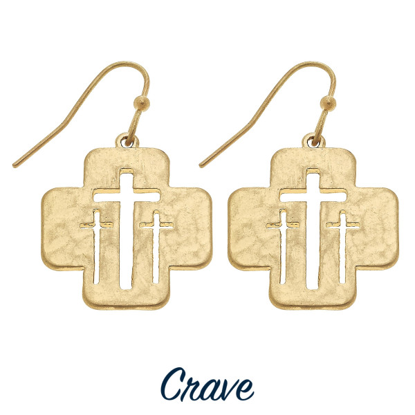 "Short cutout cross earrings. Approximately 3/4"" tall."