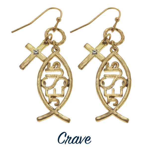 "Gold tone ichthys Jesus earrings with rhinestone details and cross charm. Approximately 1"" long."
