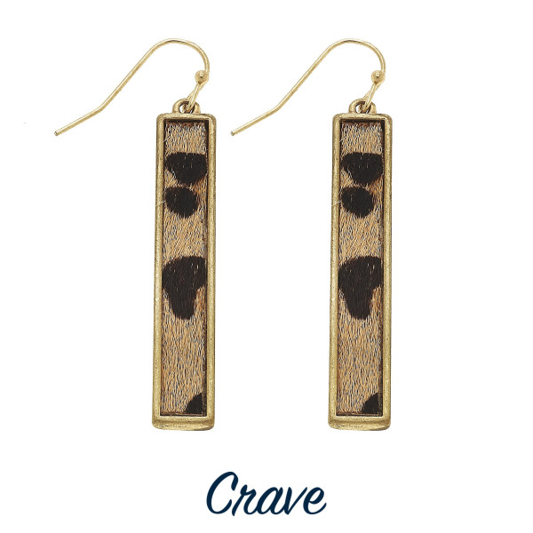 Wholesale leopard print vertical bar earrings long