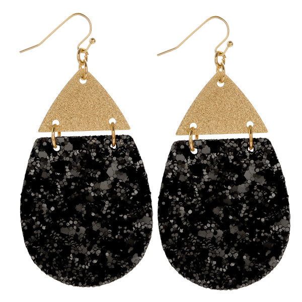 "Gorgeous leather drop glitter earrings. Approximate 3"" in length."