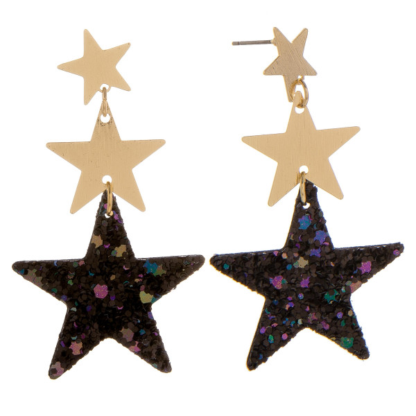"Gorgeous leather triple star glitter earrings. Approximate 2"" in length."