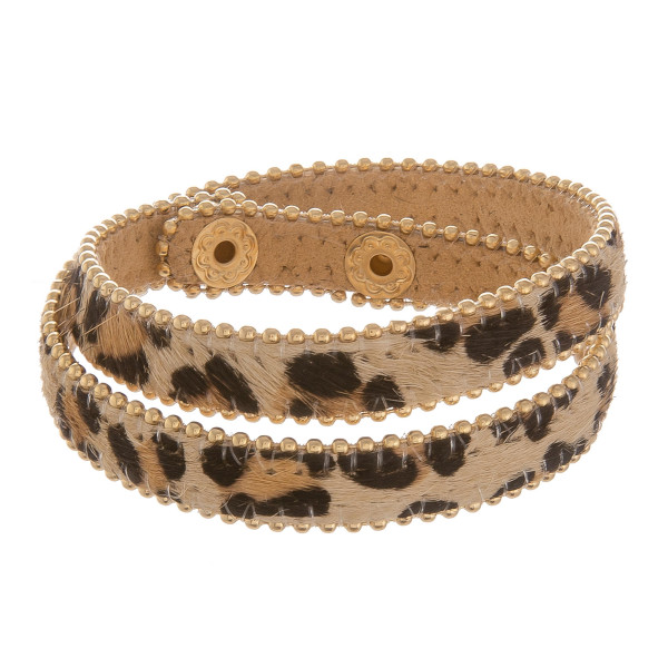 """Leather animal print wrap around bracelet with snap. Approximate 17"""" in length."""