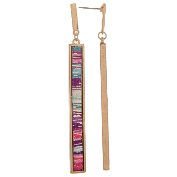 """Long bar metal earring with multi color detail. Approximate 3.5"""" in length."""