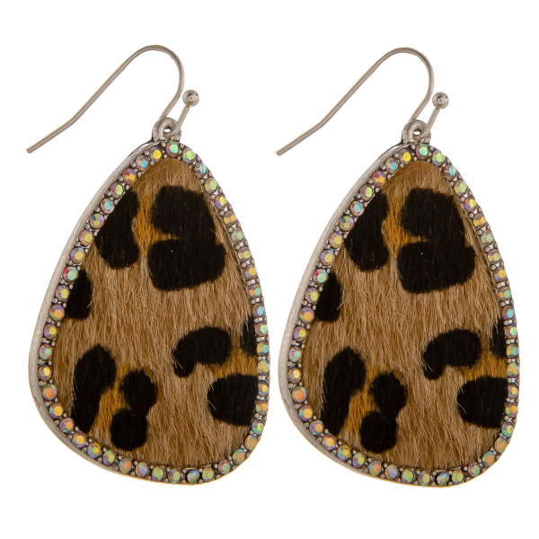 """Gorgeous short drop earring with animal print and rhinestones. Approximate 2"""" in length."""