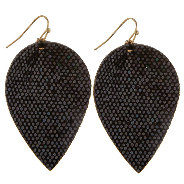 "Grab these gorgeous fishhook snake skin drop earring. Approximate 2"" in length."