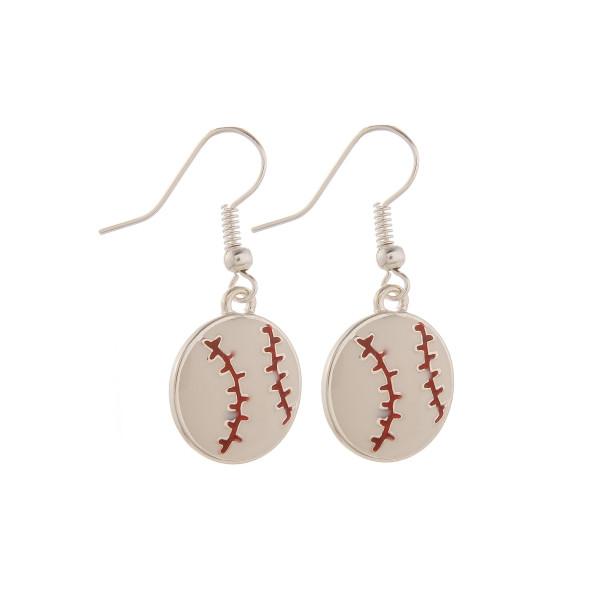 """Short fishhook baseball earrings. Approximate 1"""" in length."""