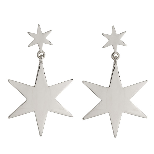 "Long metal double star earrings. Approximate 2"" in length."