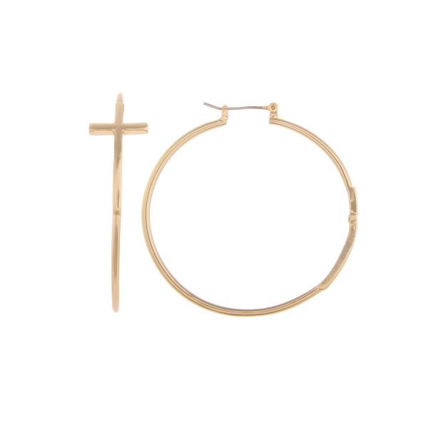 """Long metal cross hoop earring. Approximate 2"""" in diameter."""