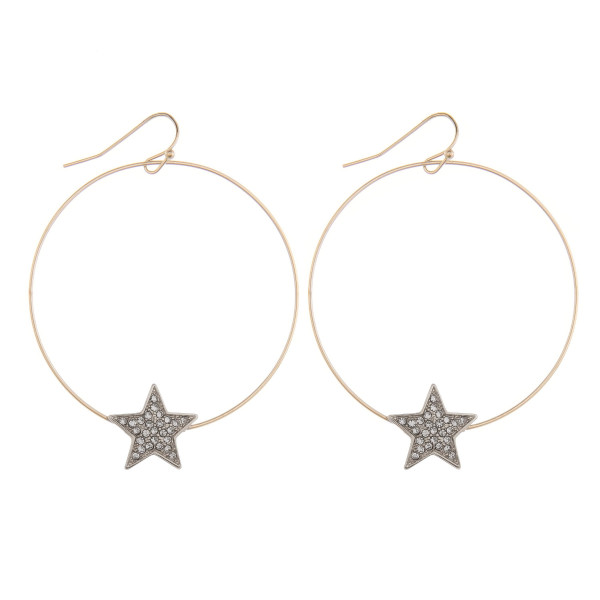 "Long fishhook  hoop earring with star charm with rhinestones. Approximate 2"" in length."