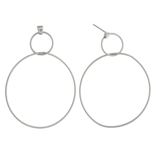 "Long double hoop earrings. Approximate 2"" in length."