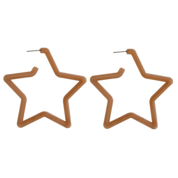 "Long star acetate earrings. Approximate 2.5"" in length."