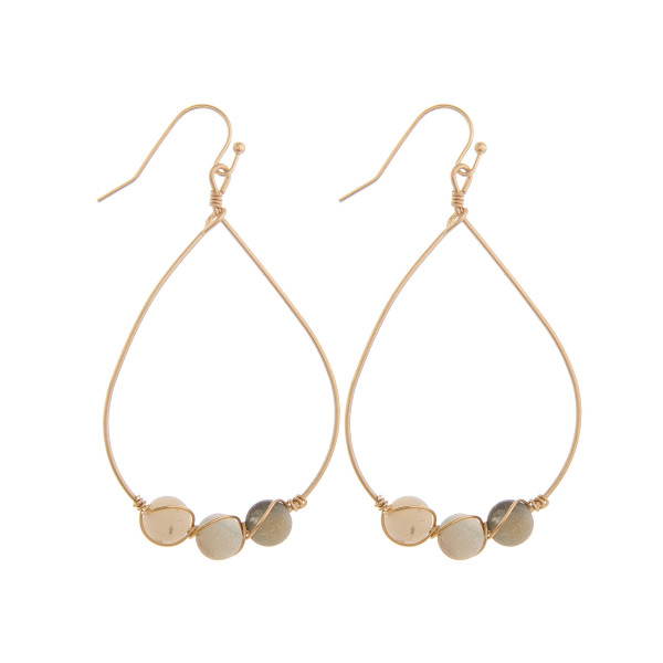 Wholesale long drop metal earrings natural stone detail Approximate