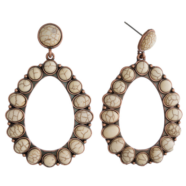 """Long hoop earrings with natural stone details. Approximate 2.5"""" in length."""