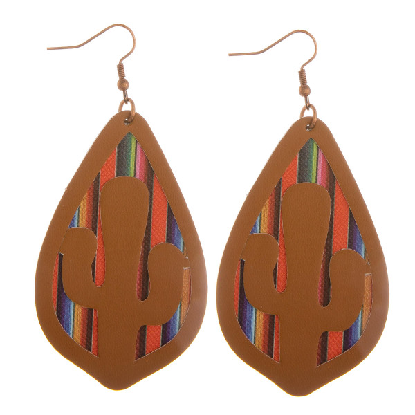 """Long leather earrings with multi color details peek through. Approximate 3"""" length."""