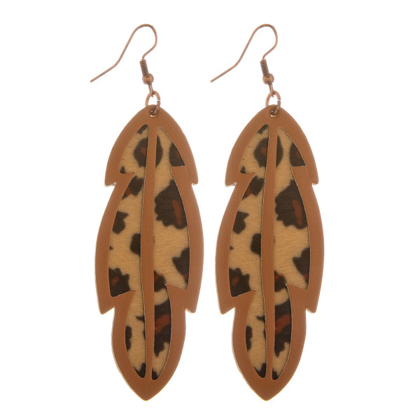 """Long leather earrings with animal print details.  Approximate 3"""" length."""