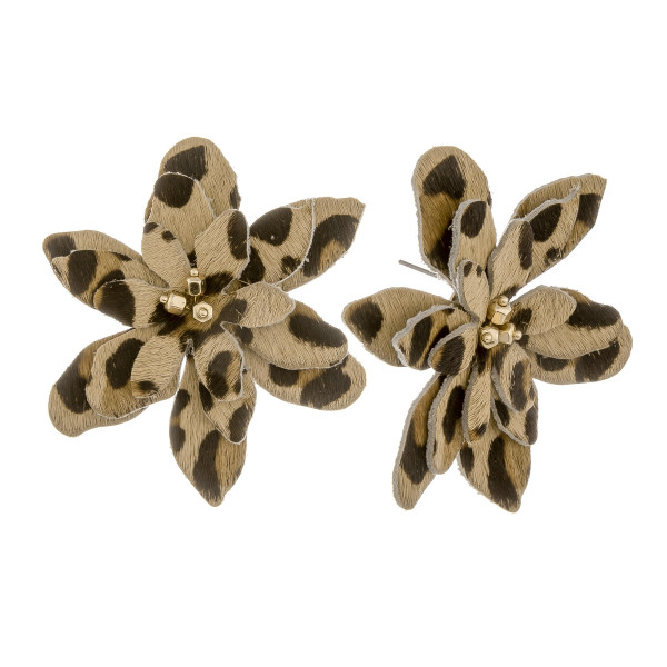 """Short floral earring with animal print details and beads. Approximate 2"""" in length."""