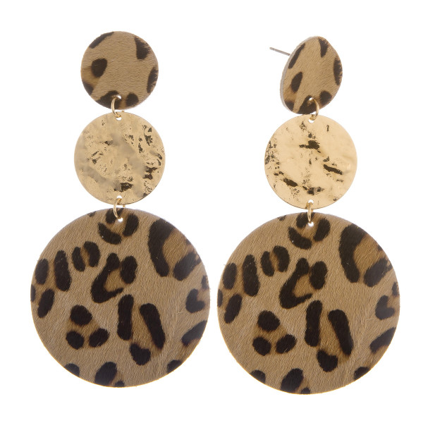 """Long genuine leather earrings with animal print. Approximate 3"""" in length."""
