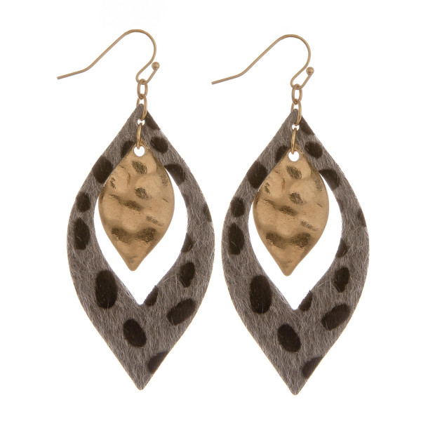 """Long diamond shaped earring with animal print detail. Approximate 2.5"""" in length."""