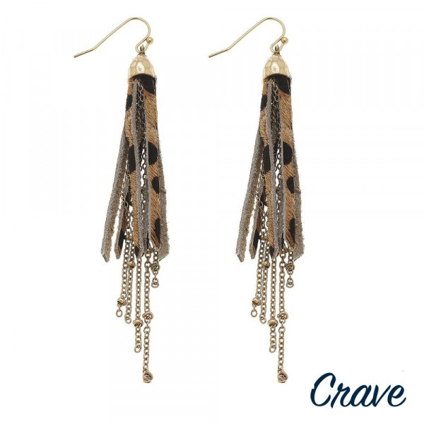 "Long leather  tassel crave earring. Approximate 2.5"" in length."