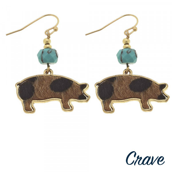 """Short metal earring with pig details. Approximate 1"""" in length."""