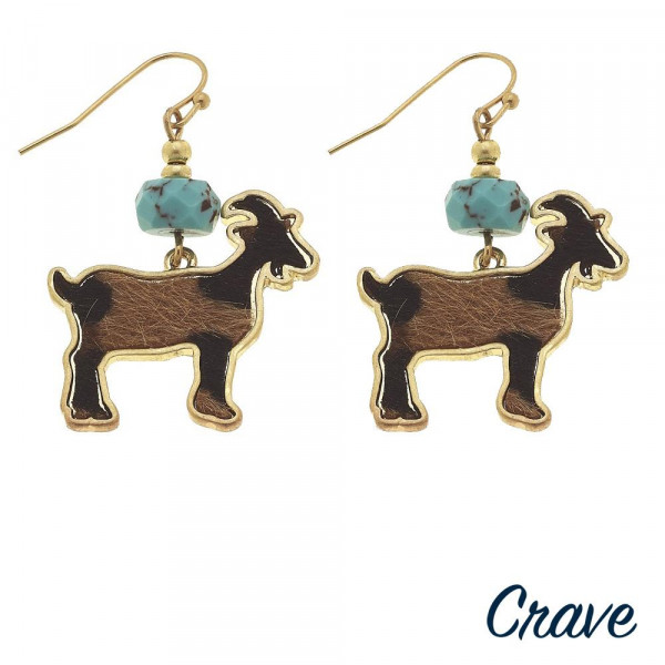 "Short metal earring with goat details. Approximate 1"" in length."