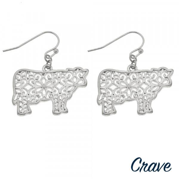 "Long fishhook metal filigree cow earrings. Approximate 1"" in length."