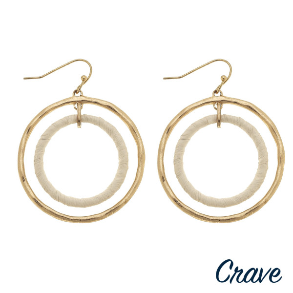 """Long fish-hook double hoop crave earrings. Approximate 2"""" in length."""