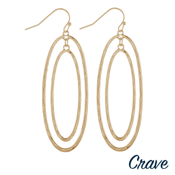 "Long crave oval earring. Approximate 2.5"" in length."