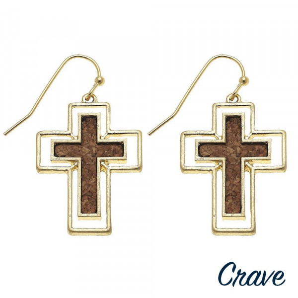 "Long cross earrings with cork details. Approximately 1"" in length."