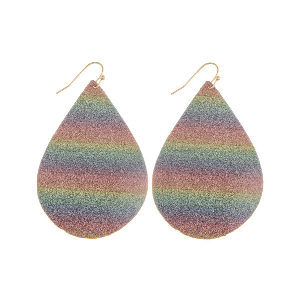 """Long leather drop earring with glitter detail. Approximate 2"""" in length."""